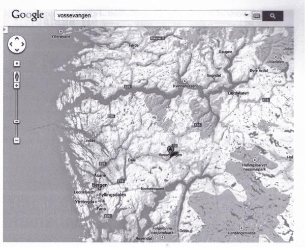 Figur 1: Voss i forhold til Bergen og fjordane på nord- og sørsida.